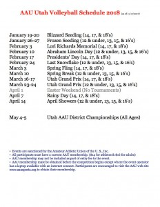 AAU 2018 Schedule