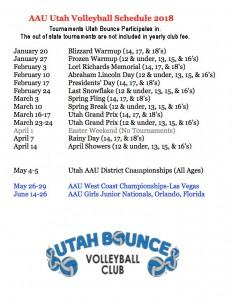 AAU 2018 Schedule revised